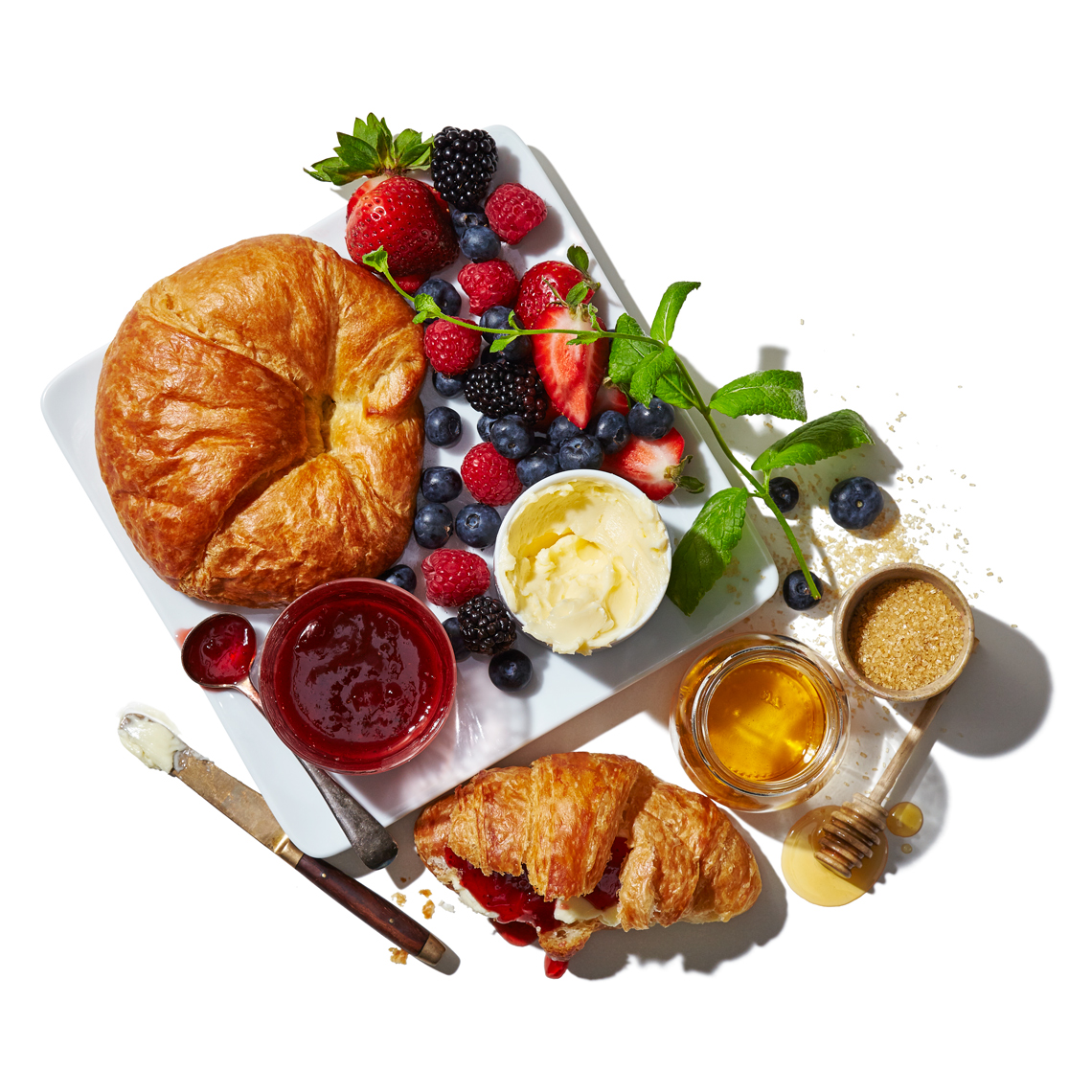 Abundant_Croissant_Jam-butter-honey-sugar-mint-berries-fruits