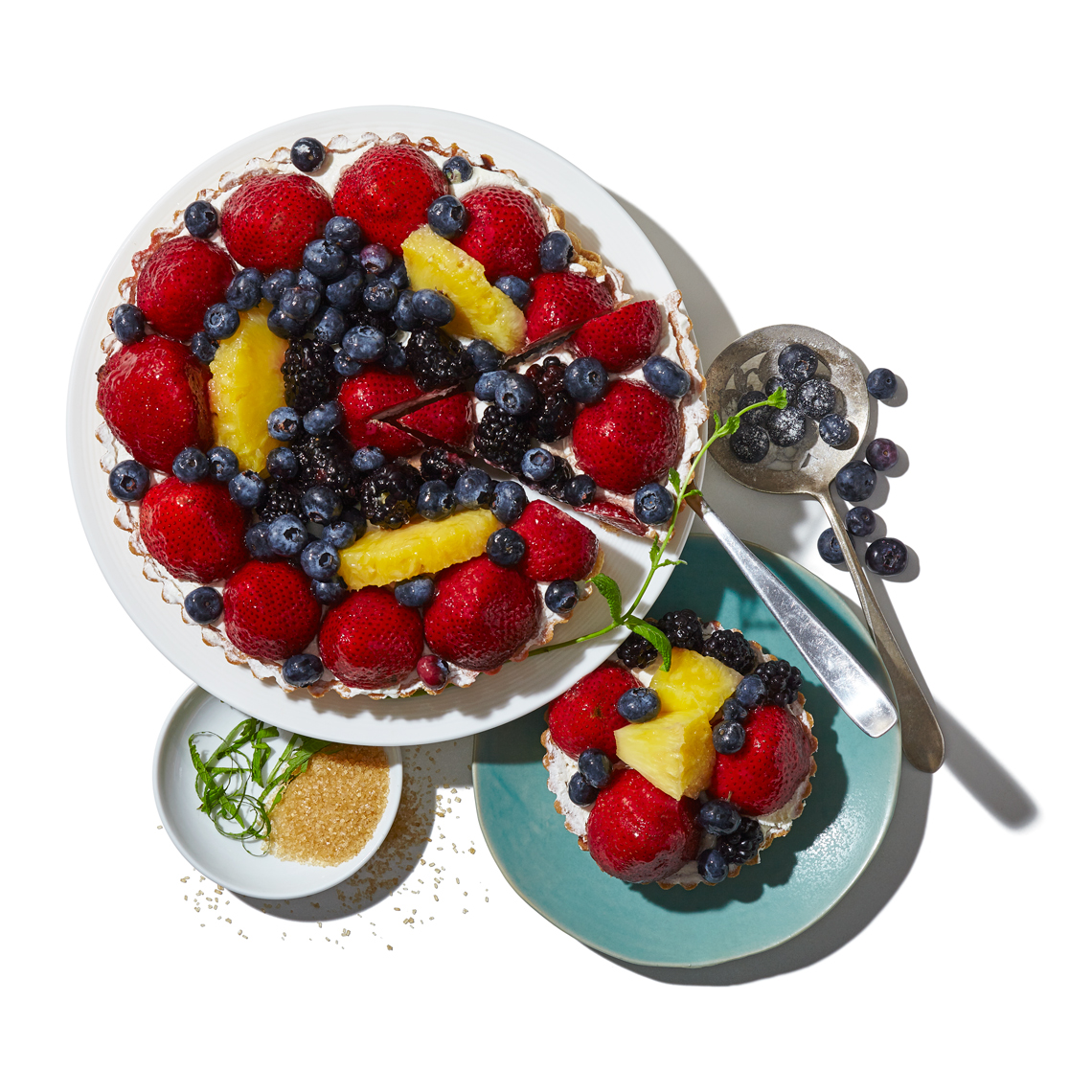 Abundant_Fruit-Tart_Brown-Sugar-Pineapple-Blueberry-Strawberry-vintage-spoon